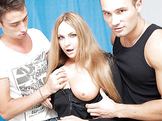 3 oversexed boyz were bored as hell and wanted to fuck, so one of 'em went out to discover some chick. What a surprise, a cute neighbour of his was walking in the park, and that playgirl acceded to have a cup of tea with him! Looks like this sexy blondie will be the star of an amateur DP movie scene :) At First that playgirl didn't crave to take part in real hard fuck, but did this playgirl have any choice? The lascivious fellows got her in nature's garb in no time and made her do hard unfathomable face hole. Then it was time for real anal fucking, ...