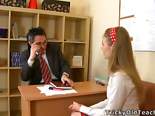 Cute chick came to the teacher's place and acquiesced to please him. The old stud pets her pinkish vagina.