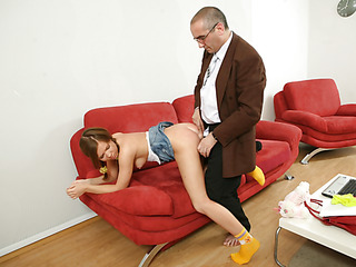 Old naughty teacher fills every single tight aperture of a bad student with his big firm jock.