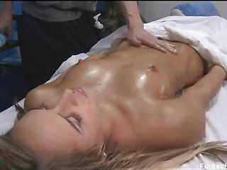 Nice-looking 18 year old cuteie receives screwed hard by her massage therapist