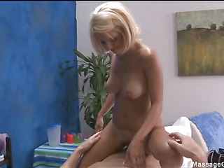 Hot and hot golden-haired 18 year old gets fucked hard doggy style by her massage therapist