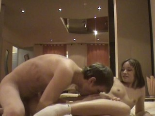Honey undresses her boyfriend and bounds on his dick.