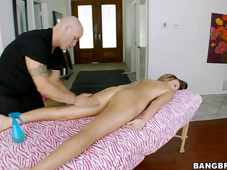 Alexis Addams is very sore. Her body appears to be to have been truly tense another time not long ago from all of her working out and work related stress, so thank God that this hottie made an appointment to get a worthy rub down from our chap Derrick. After getting the ravishing parts he starts getting into the second part of the massage which Alexis has no objections to. Previous to u know it Derrick is getting his 10-Pounder massaged inside her mouth. Then massages her cunt. Have A Joy watching!