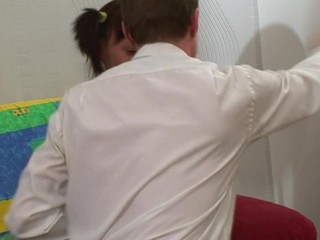 Hotty is delighting teacher with her skillful throat