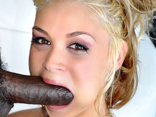 Cute golden-haired is concupiscent to engulf and fuck a big black weenie