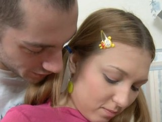 Cute honey bounds on hard wang and feels it in mouth.