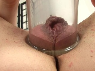Placing a pump on her vagina creates wild pleasures for playgirl