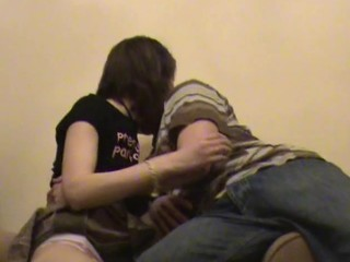 Fellow chokes his filthy whore, whilst hammering her in the room