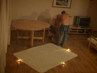 Teen sex scene takes place on the carpet in the center of hall