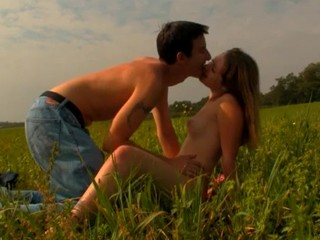 Check out the incredible sex with a golden-haired on a spacious field