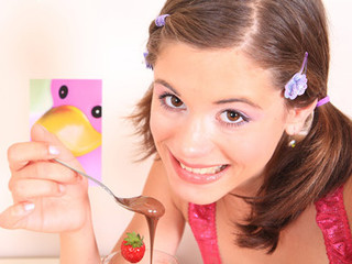 Very small beauty Caprice receives covered with chocolate and touches her petite fur pie