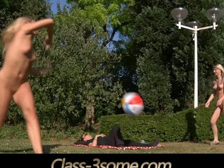2 joyful blonde teens plays in the garden but at some point their ball rolls over the laying penis nearby. That pont of time the real play starts. The young golden-haired teens ad the horny penis angages in a hardcore fuck